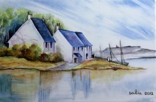 ציור על פורצלן- נוף